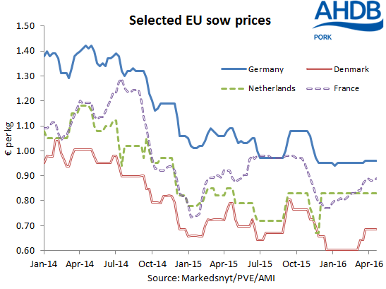 Selected EU sow prices