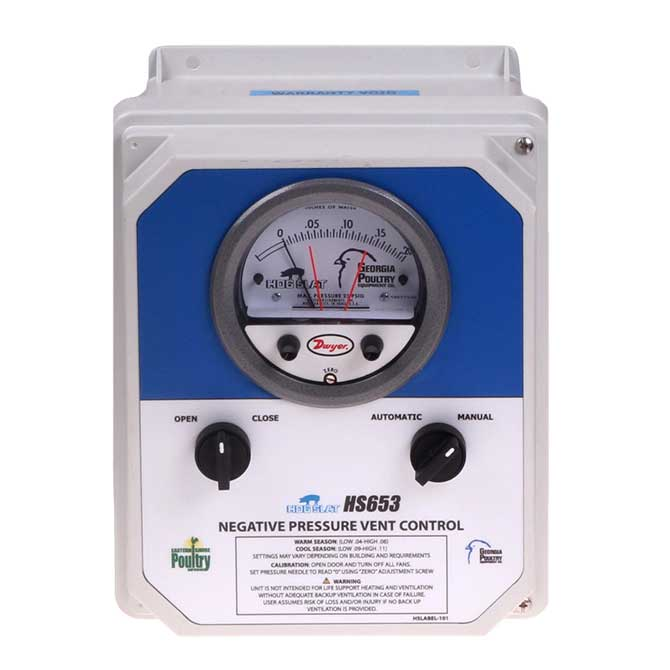 The HS653 Negative Pressure Vent Controller provides automatic and manual control of curtain and barn inlet openings.