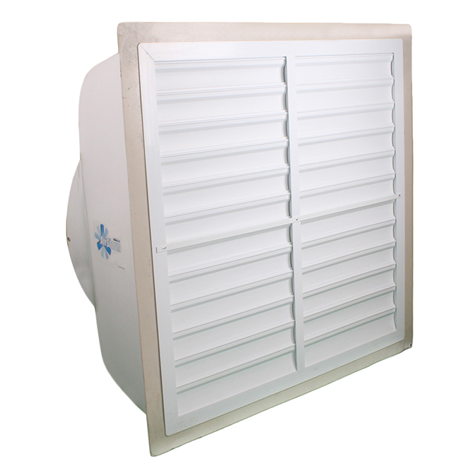 "Hog Slat white PVC fan shutter, shown mounted on a 36"" AirStorm fan."