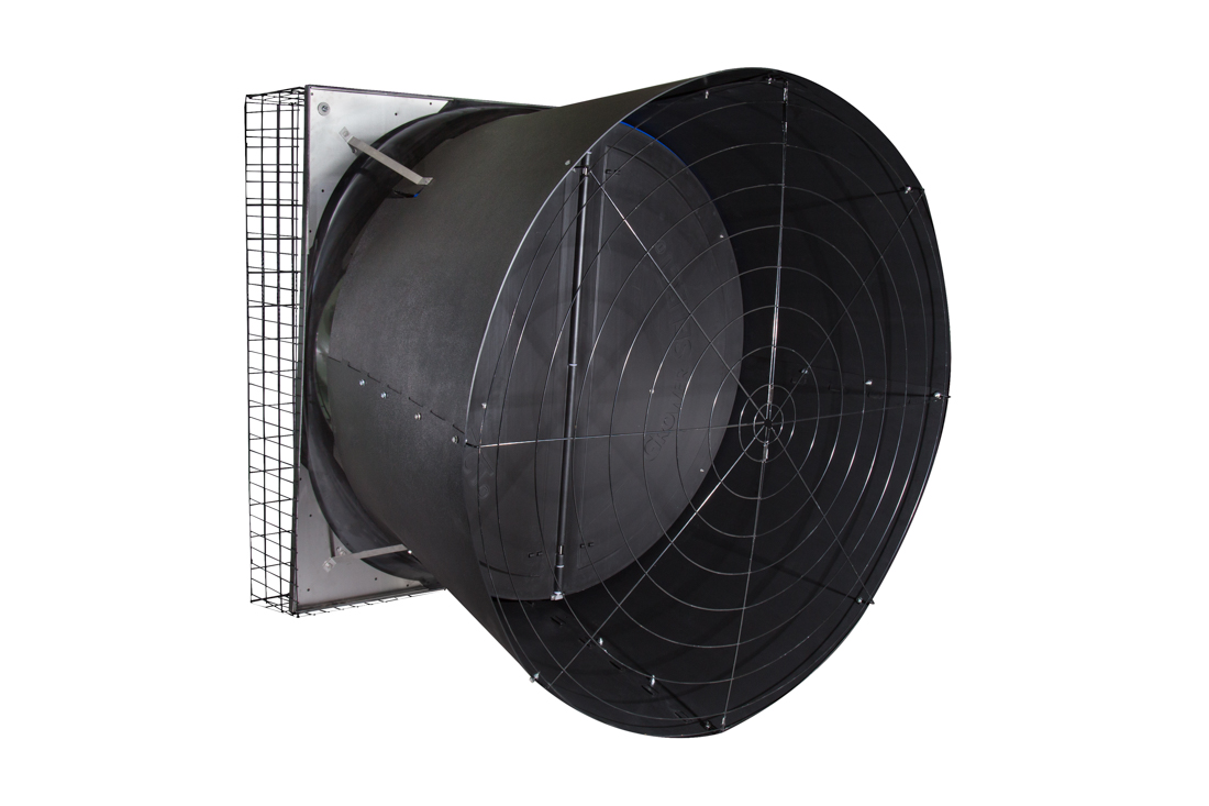 "57"" X-Brace butterfly shutter exhaust fan, shown without optional through-wall mount."