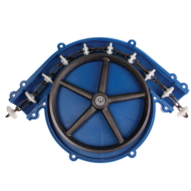 Grow-Disk 90° corner wheels are manufactured with heavy duty materials to provide long lasting performance. Interior view shown.