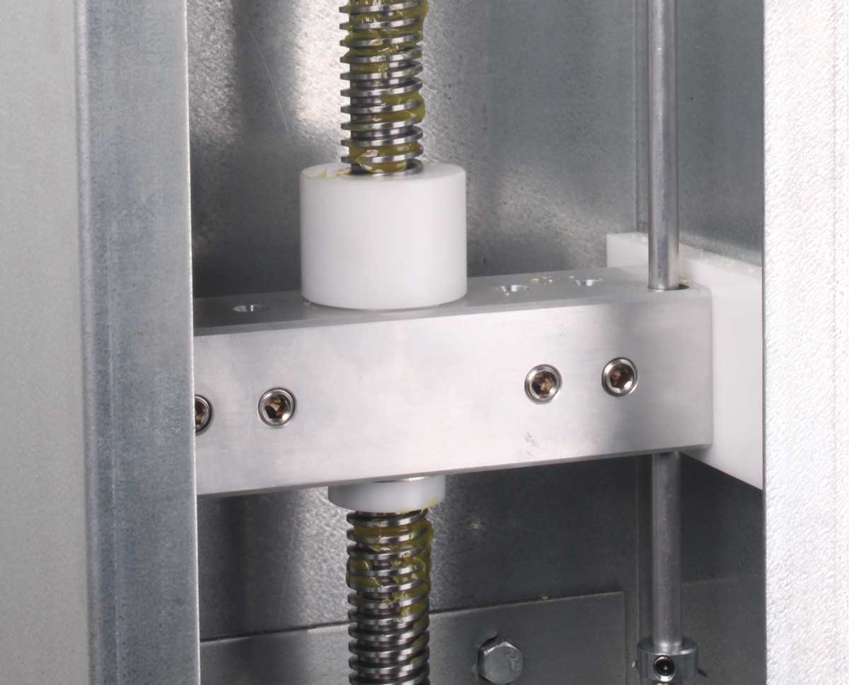Acetal plastic load nut and guide blocks minimize friction issues, resulting in consistently smooth operation.