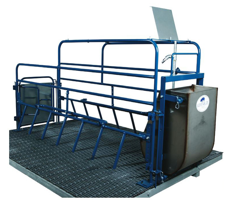 Hog Slat's Advantage farrowing crate is the most versatile design on the market and sets the standard for quality and production efficiency. (Solid rod, painted finish Advantage crate shown with large sow feeder bowl and woven wire flooring)