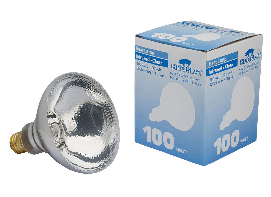 The Hog Slat® Dimpled Face 100 watt heat lamp bulb is constructed of heavier glass and has the same output as a normal 125 watt bulb.