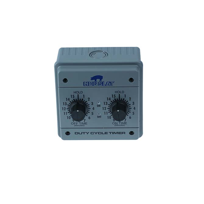 The Hog Slat® Duty Cycle timer provides control over interval and run-time for fans and other equipment that run on continuous duty cycles.