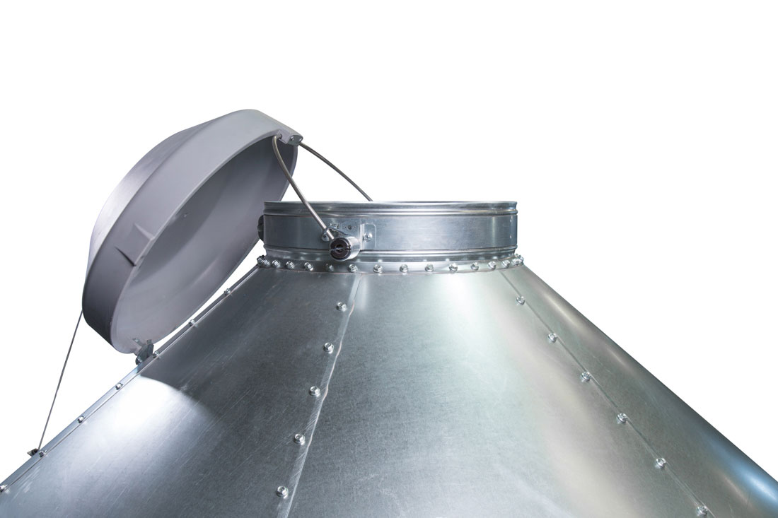 Hog Slat feed bin lids roll back onto the roof panel below the fill ring, eliminating the opportunity for snow, rain or other moisture to collect inside the lid while open.