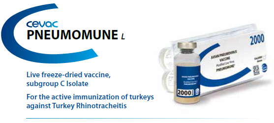 PNEUMOMUNE™ - For the active immunization of Turkey's against Turkey Rhinotracheitis from CEVA SANTE ANIMALE