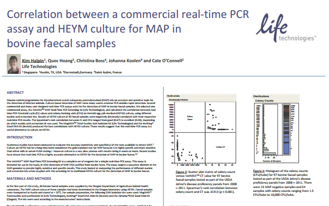 LifeTech - Correlation between a commercial real-time PCR assay and HEYM culture for MAP in bovine faecal samples