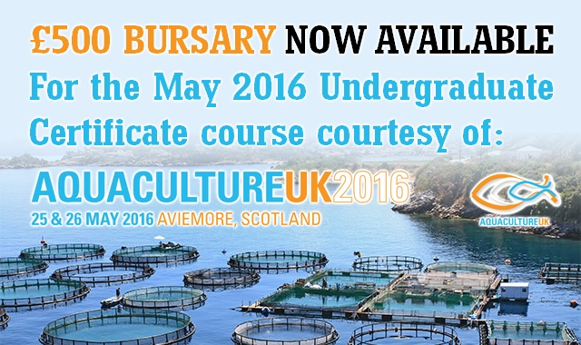 Bursary now available for the May 2016 Undergraduate Sustainable Aquaculture Course