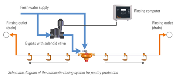 Schematic diagram of the automatic rinsing system