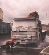 Lorries and tanks used to transport fish should be cleaned by power-hose, rinsed and 