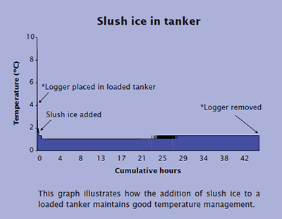Slush ice in tanker